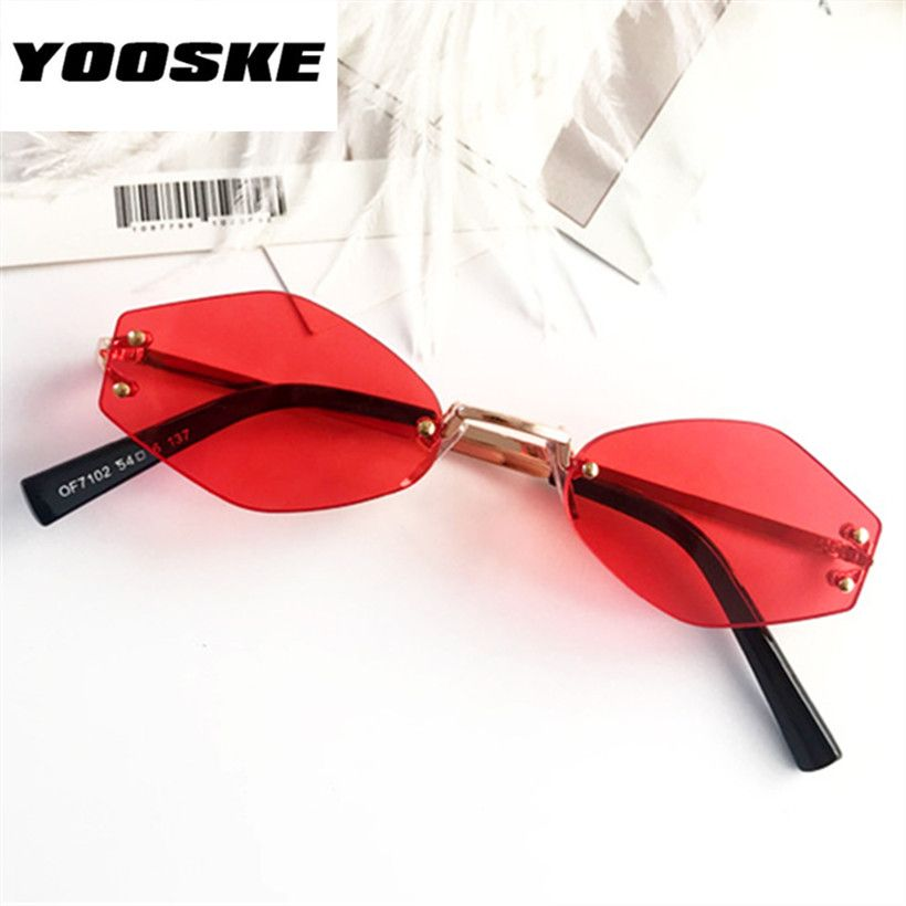 ace80f8d800 YOOSKE Retro Small Oval Sunglasses Women Rimless Sun Glasses Ladies  Irregular Metal Frame Glasses Transparent Color Eyewear