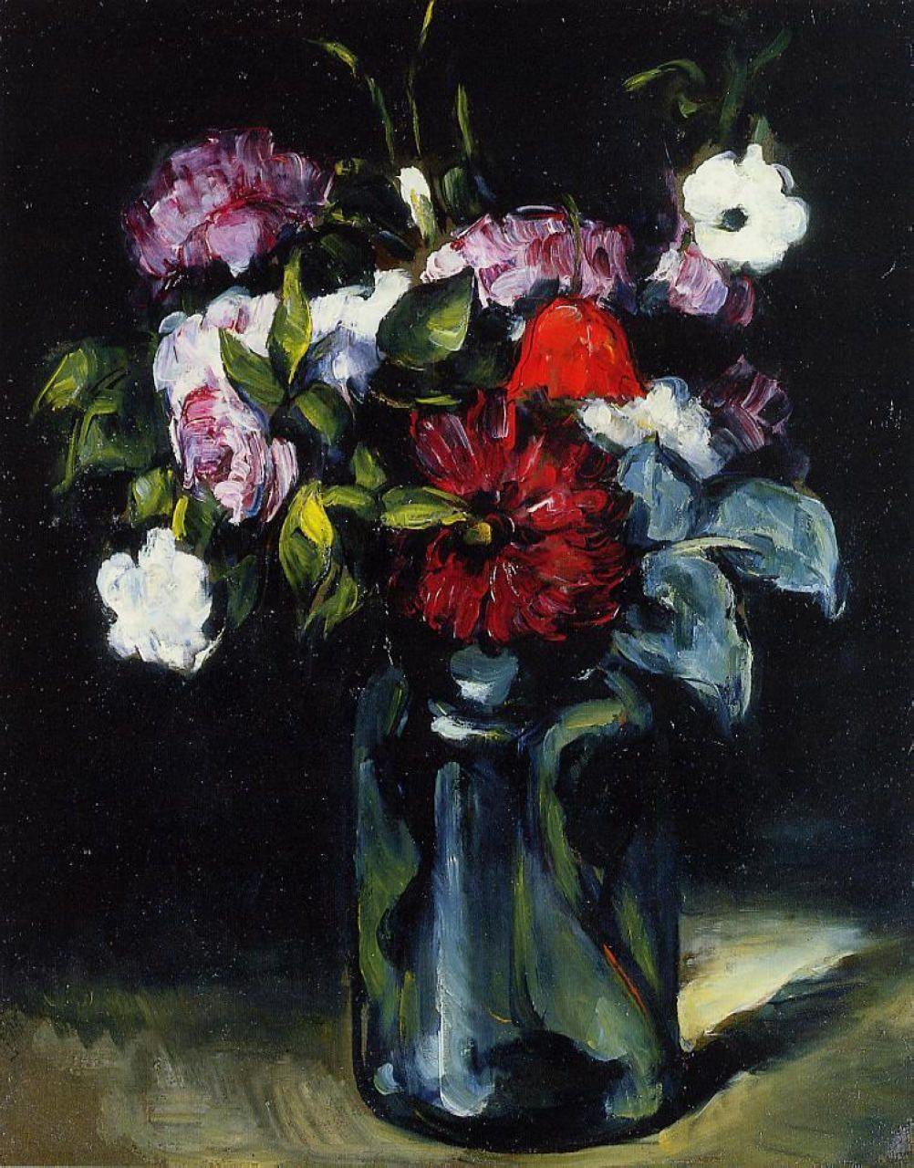 Flowers by post vase -  Flowers In A Vase Paul Cezanne 1873