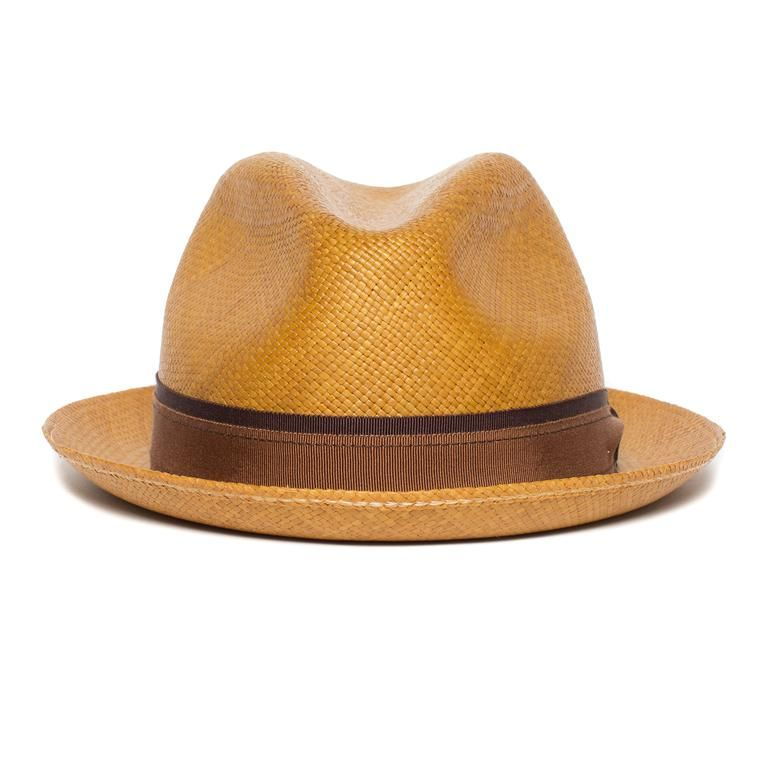 3a282faad8e687 Goorin Bros. eberline center dent medium brim straw fedora hat Whiskey  front view