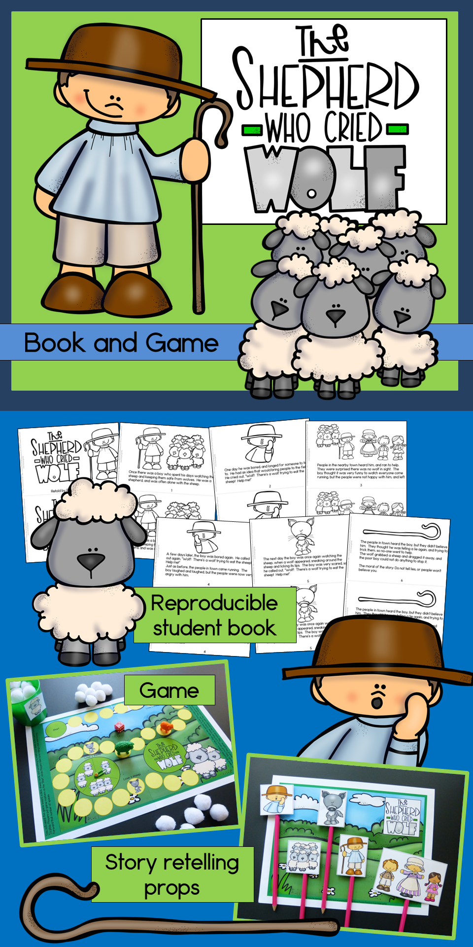 A reproducible student book, story retelling / puppet show kit, and fun reading game for Aesop's fable: The Shepherd Who Cried Wolf.   What a fun reading activity - my kids will love this! ($)