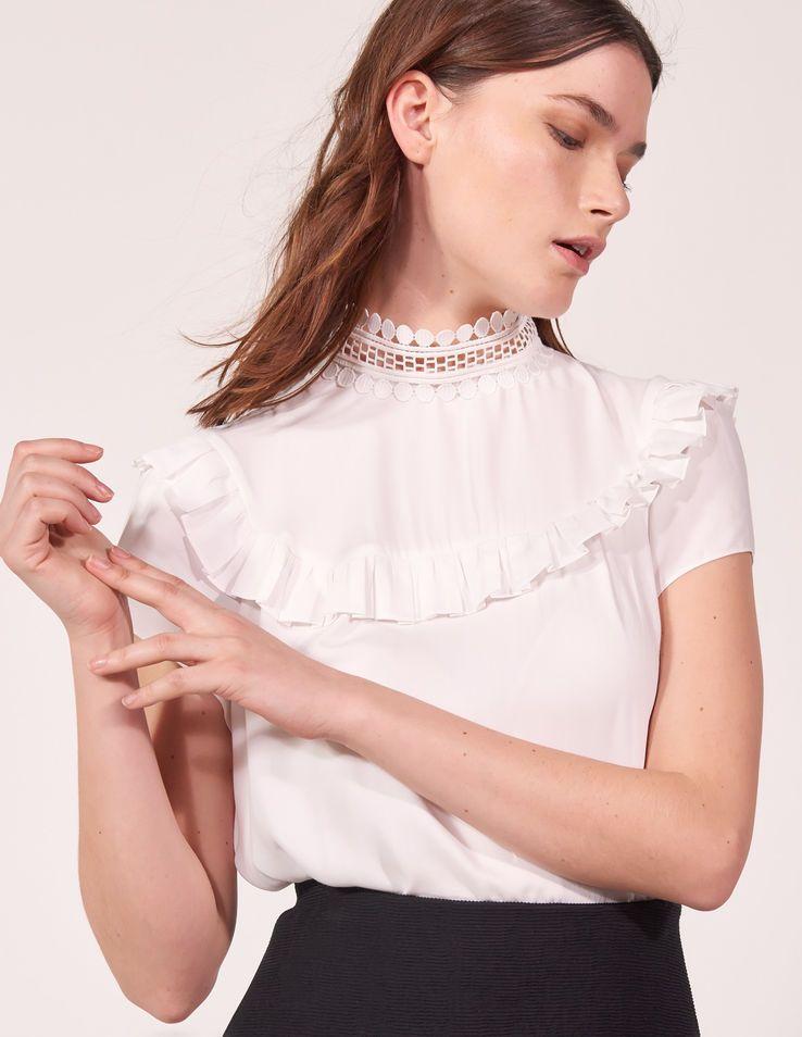 5e16909b54a4a7 High Collar Lace Top - Tops & Shirts - Sandro Paris | euro trip ...
