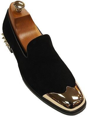 Fiesso Mens Black Suede Spike Gold Cap Toe Slip On Party Trending Loafer Shoe