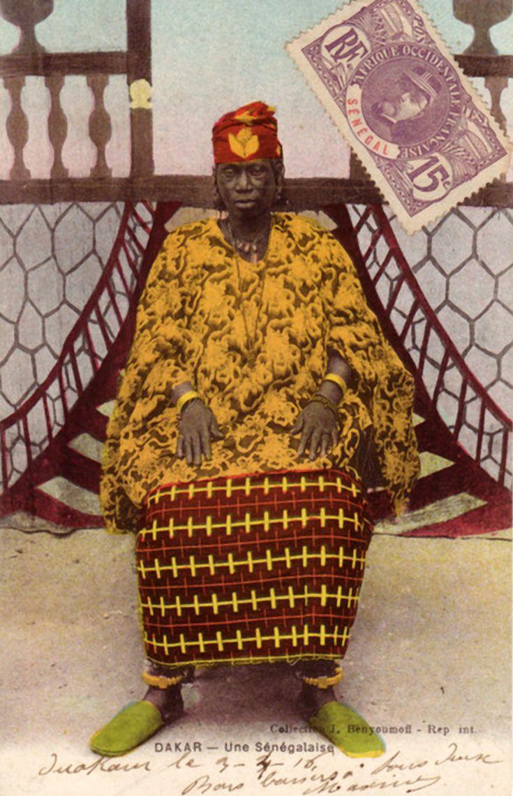 "Africa | ""Une Sénégalaise"" Dakar. Dated 1923. || Vintage postcard; collection J Benyoumoff ~ Rep. Int."