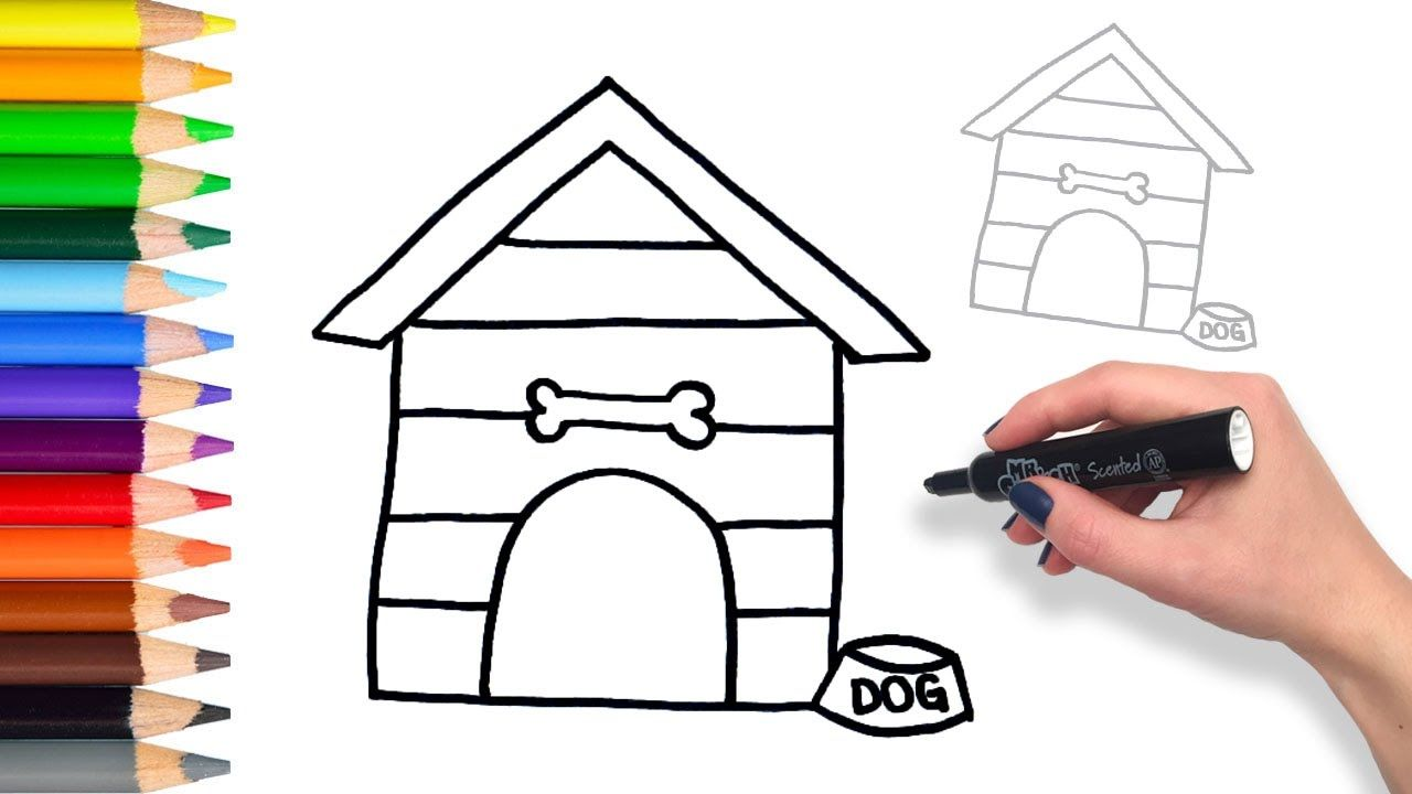 Learn How To Draw Dog House Teach Drawing For Kids And Toddlers