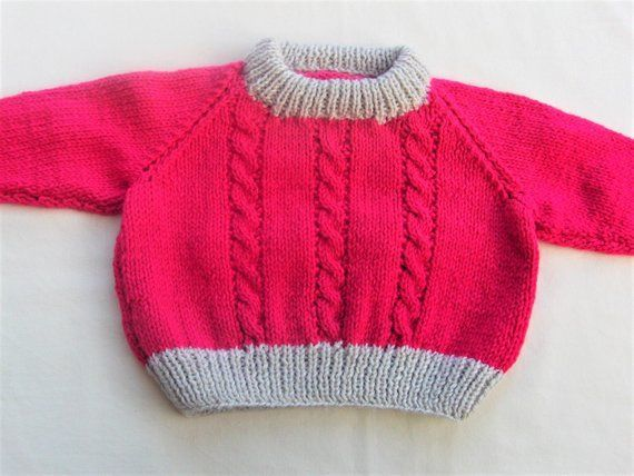 Hand Knitted Cabled Baby Sweater Cabled Baby Jumper Knitted Baby Clothes Baby  Hand Knitted Cabled Baby Sweater Cabled Baby Jumper Knitted Baby Clothes Baby Jumper Pink B...
