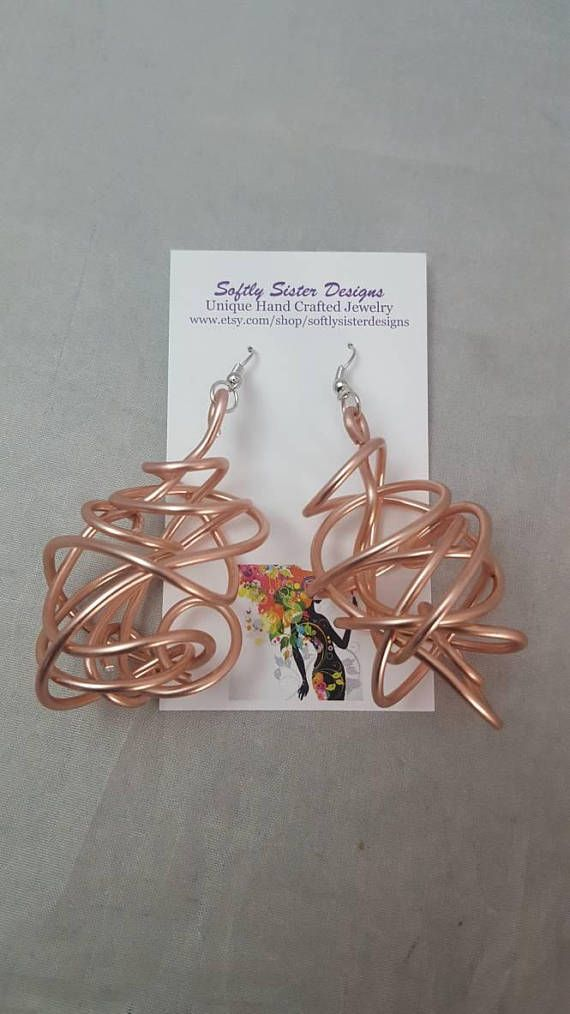 Colored Wire Earrings, Wire Wrapped Earrings, Aluminum Wire Earrings ...