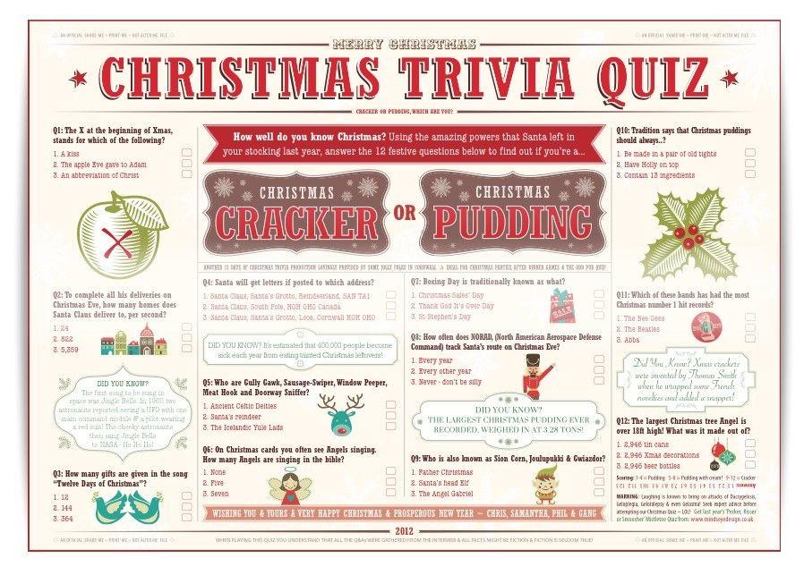 Christmas Trivia Quiz for Christmas Crackers or Christmas puddings ...