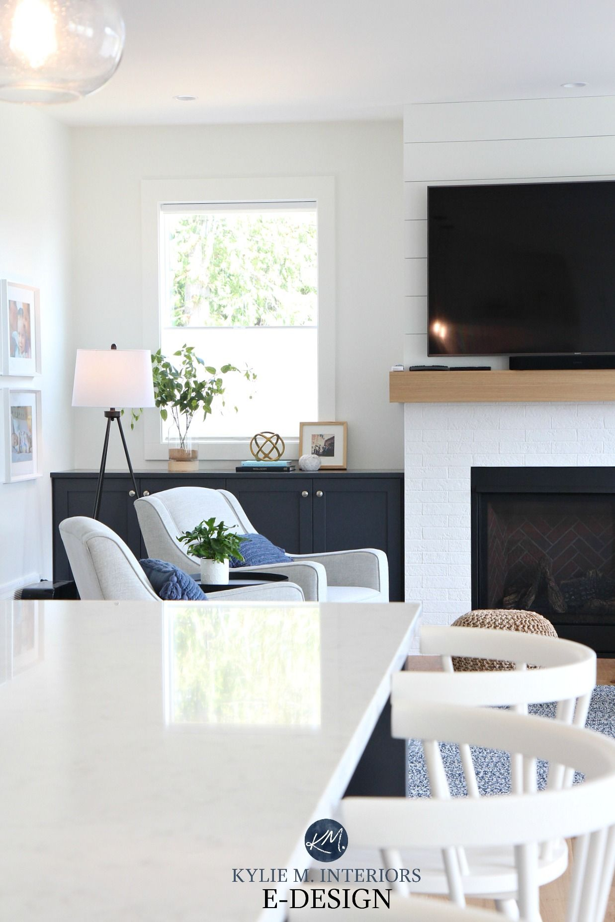 A Beautiful New All White Open Layout Home With A Lil Colour Here And There With Images White Brick Fireplace Pure White Sherwin Williams White Walls