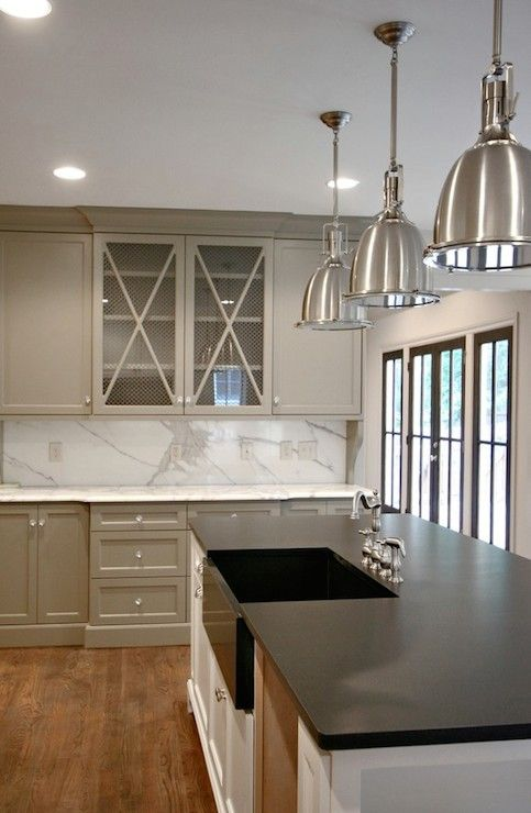 Beautiful Twotone Kitchen With Warm Gray Cabinets Painted Benjamin - Warm gray cabinets