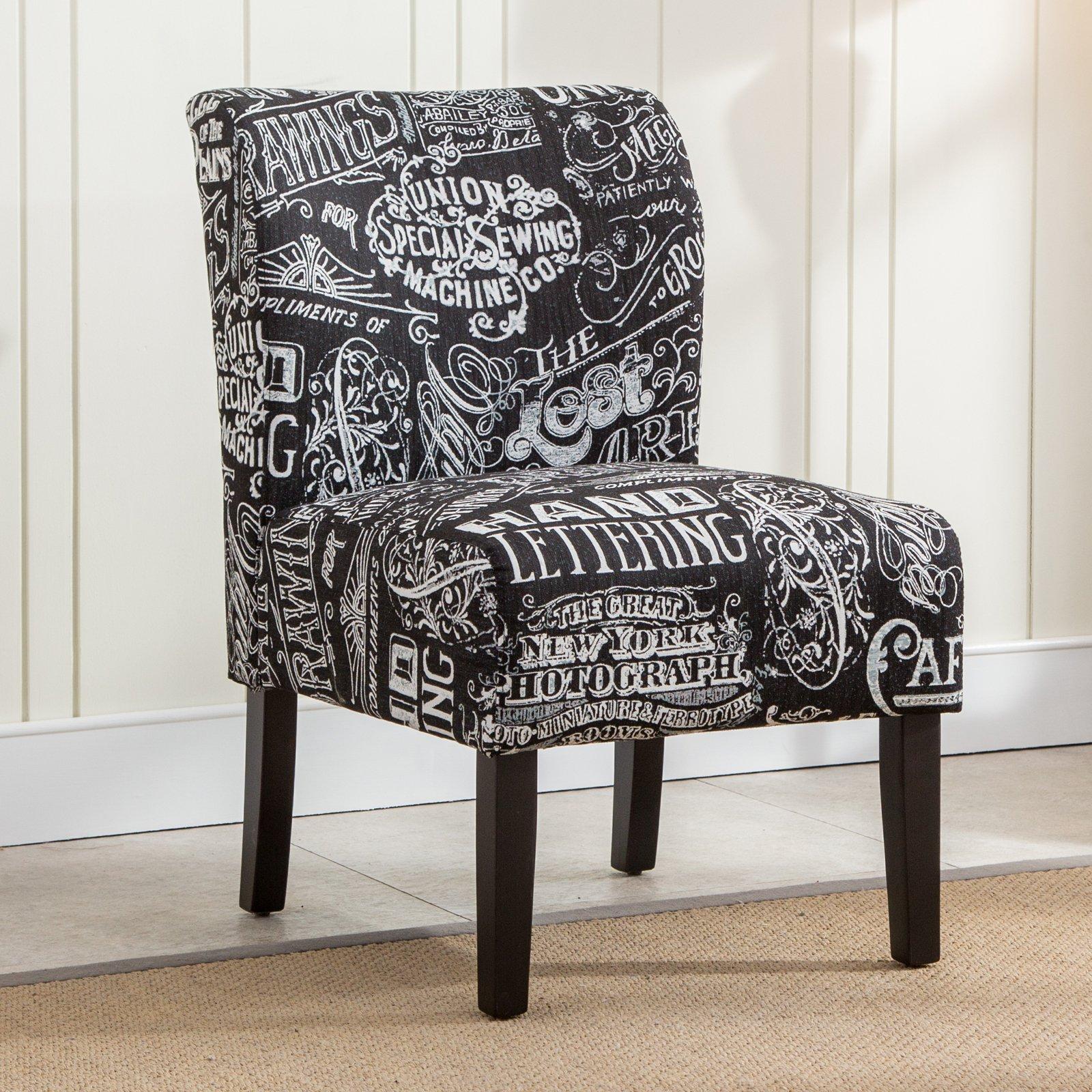 Best Roundhill Furniture Capa Chalkboard Print Fabric Armless 400 x 300