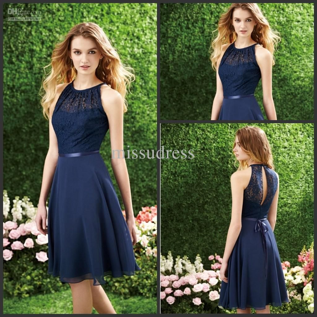 Pin by ruth heald on bridesmaids dresses pinterest chiffon pictures of dark navy short bridesmaid dresses halter lace top knee length chiffon a line party dress 2015 custom made from wholesaler missudress ombrellifo Choice Image