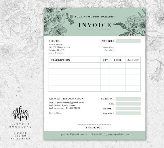 Invoice Template Photography Invoice Receipt Template For Etsy Photography Invoice Photography Invoice Template Invoice Template