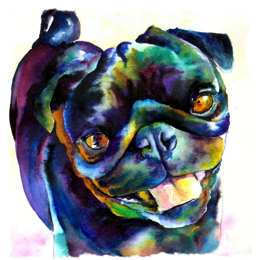 Black Pug Painting By Christy Freeman Black Pug Fine Art Prints