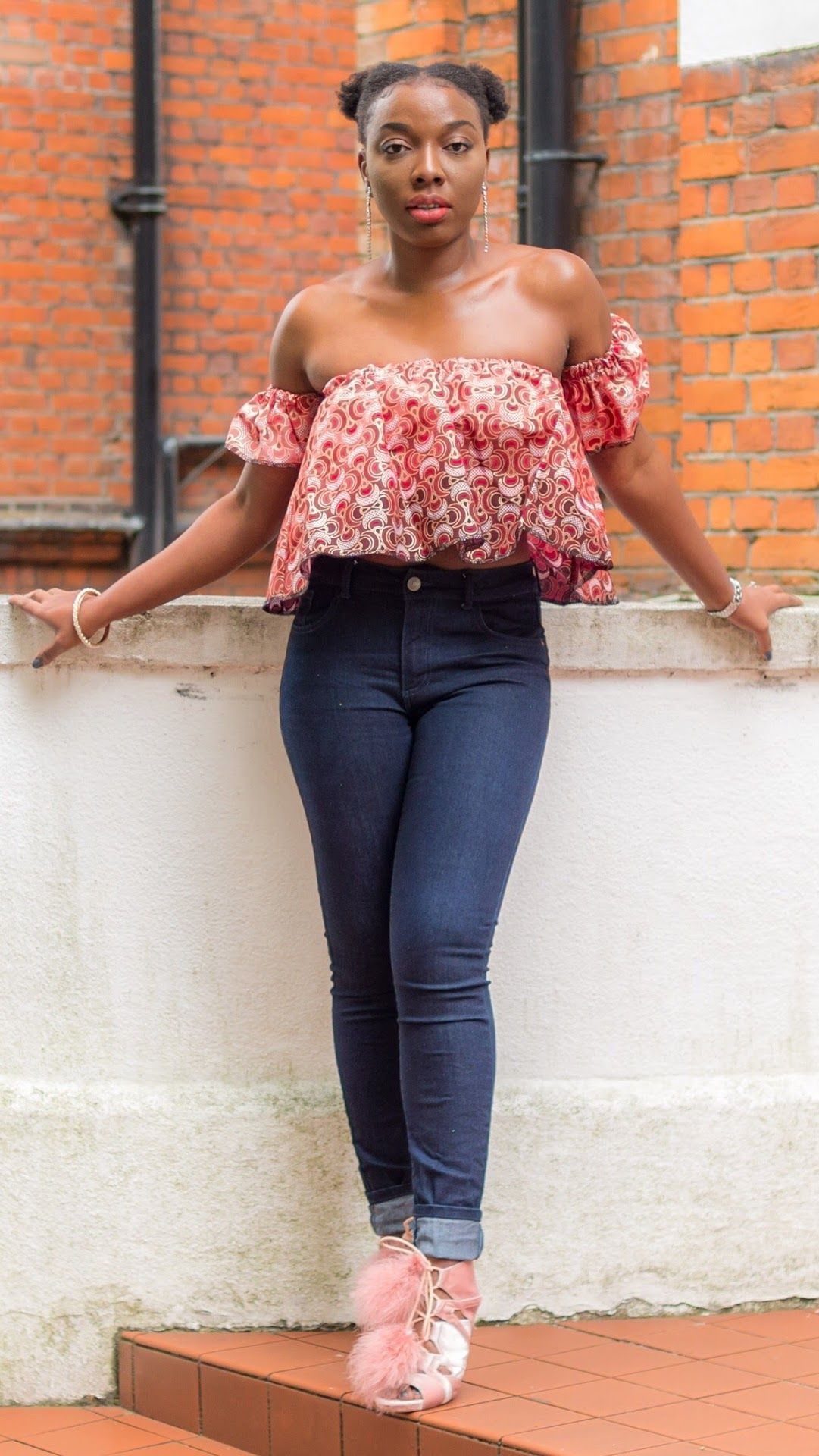 5ab2f762f Sexy Ankara off-Shoulder Top Paired with Blue jeans & Pink Sandals | Kim  Dave