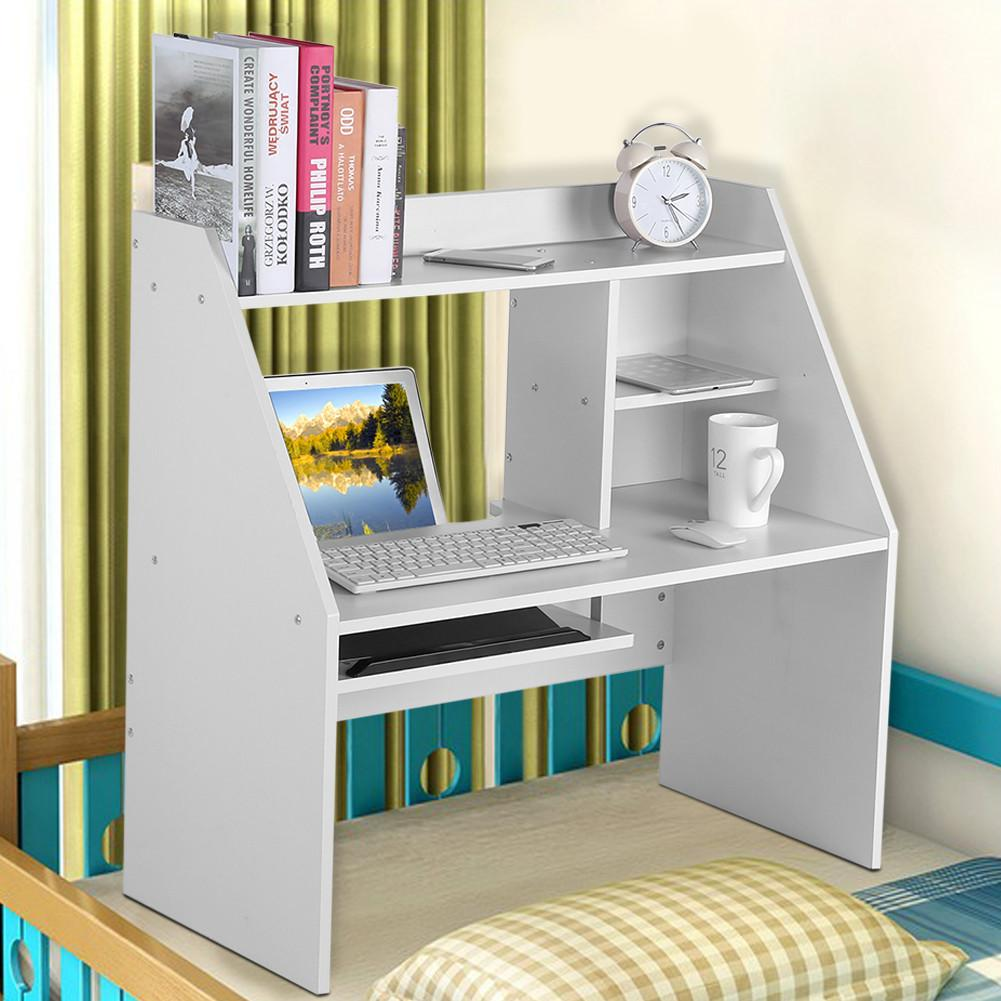 Storage Shelf Computer Laptop Study Desk Table Organizer for Dormitory Bed White