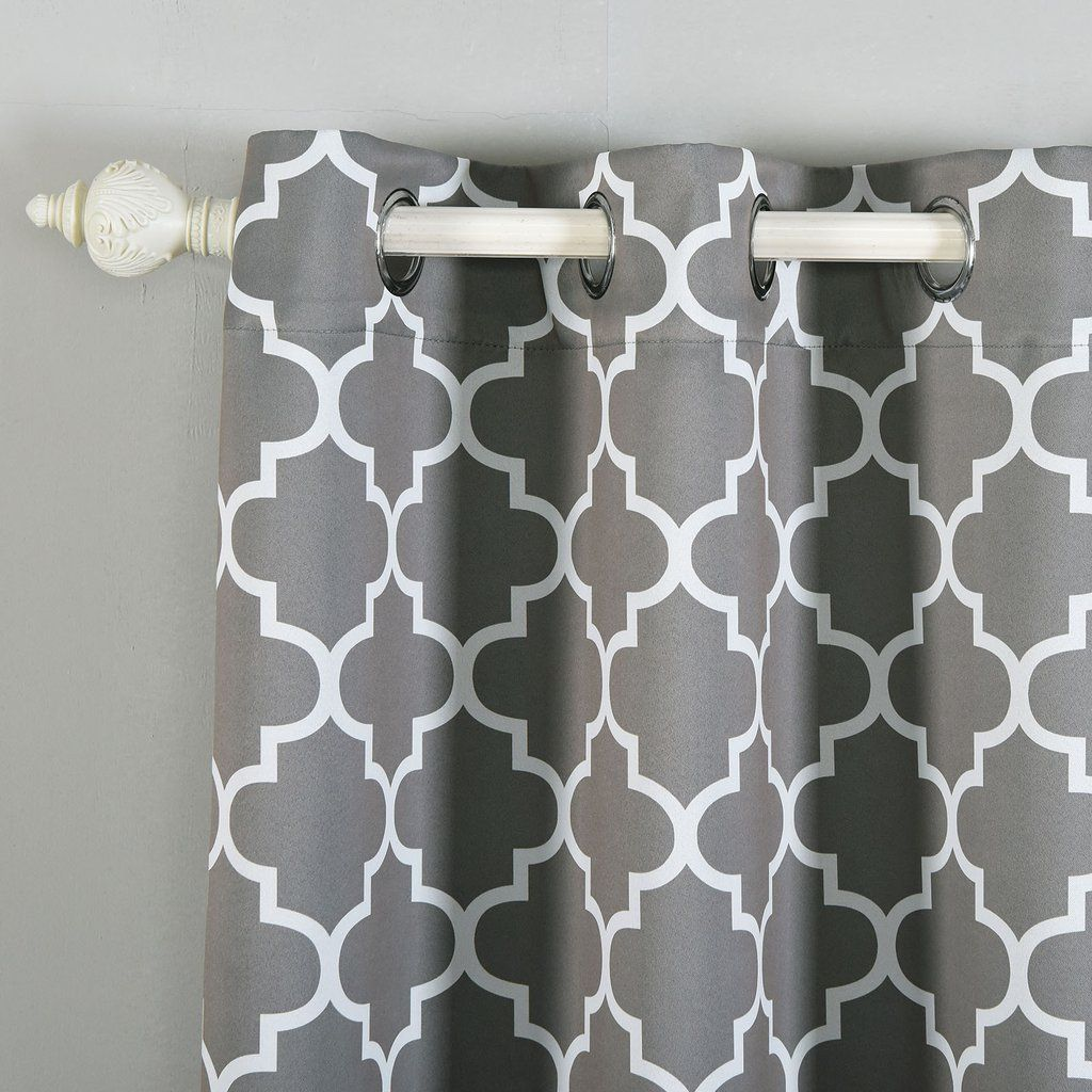 Lattice Pattern Curtains Pack Of 2 Charcoal Gray White