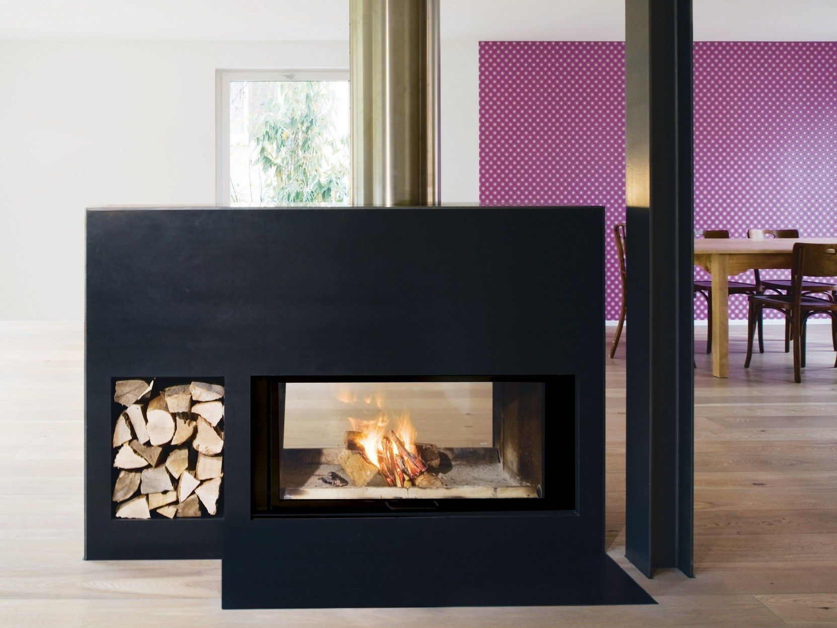 Double Sided Wood Burning Steel Fireplace With Panoramic Glass Neptun By Ruegg In 2020 Fireplace Freestanding Fireplace Double Sided Fireplace