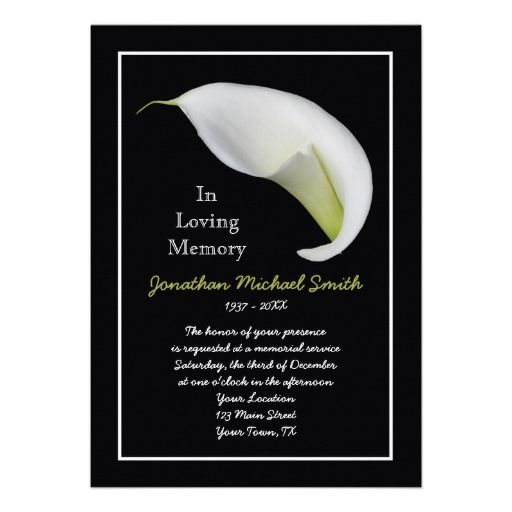 Memorial Service Invitation Announcement Template | Word Templates ...
