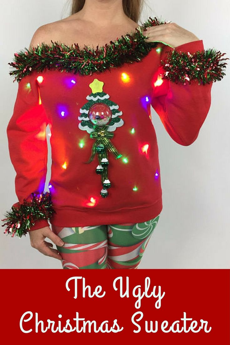 Womenus ugly sweater light up christmas tree tacky ugly sweater