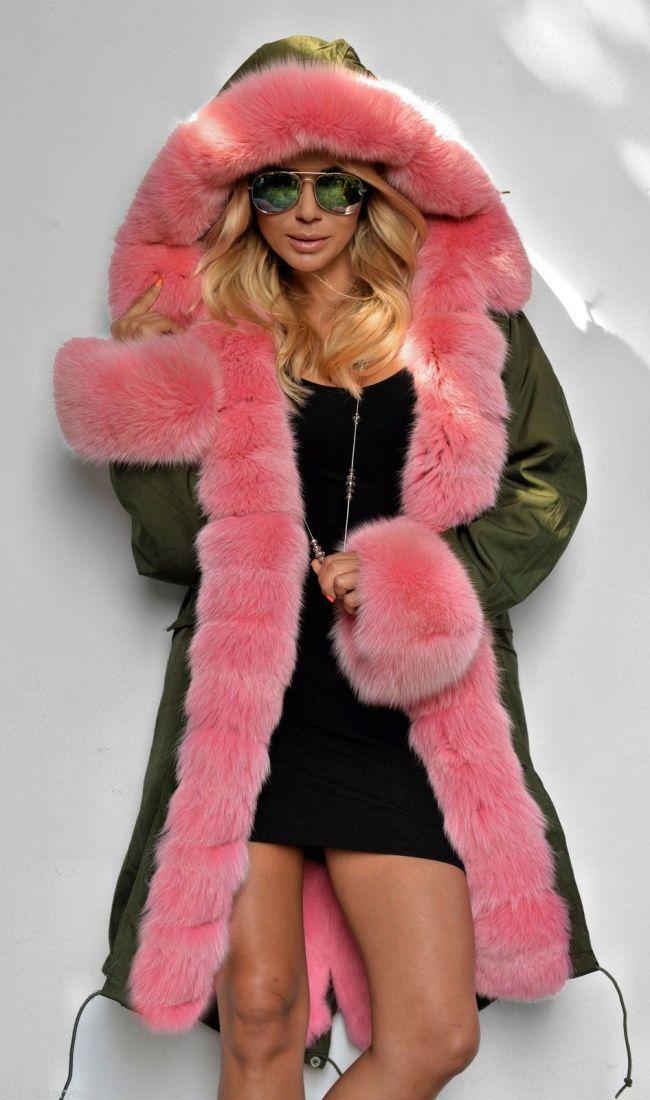 1f0e4a7053c99 Military Parka, Pink Fox Fur | Cute clothes in 2019 | Fur, Fox fur ...
