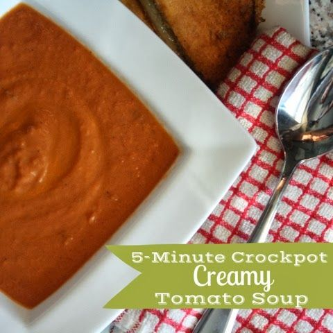 5-Minute Crockpot Creamy Tomato Soup - one of my favorite soups, with only 5 minutes of crockpot prep