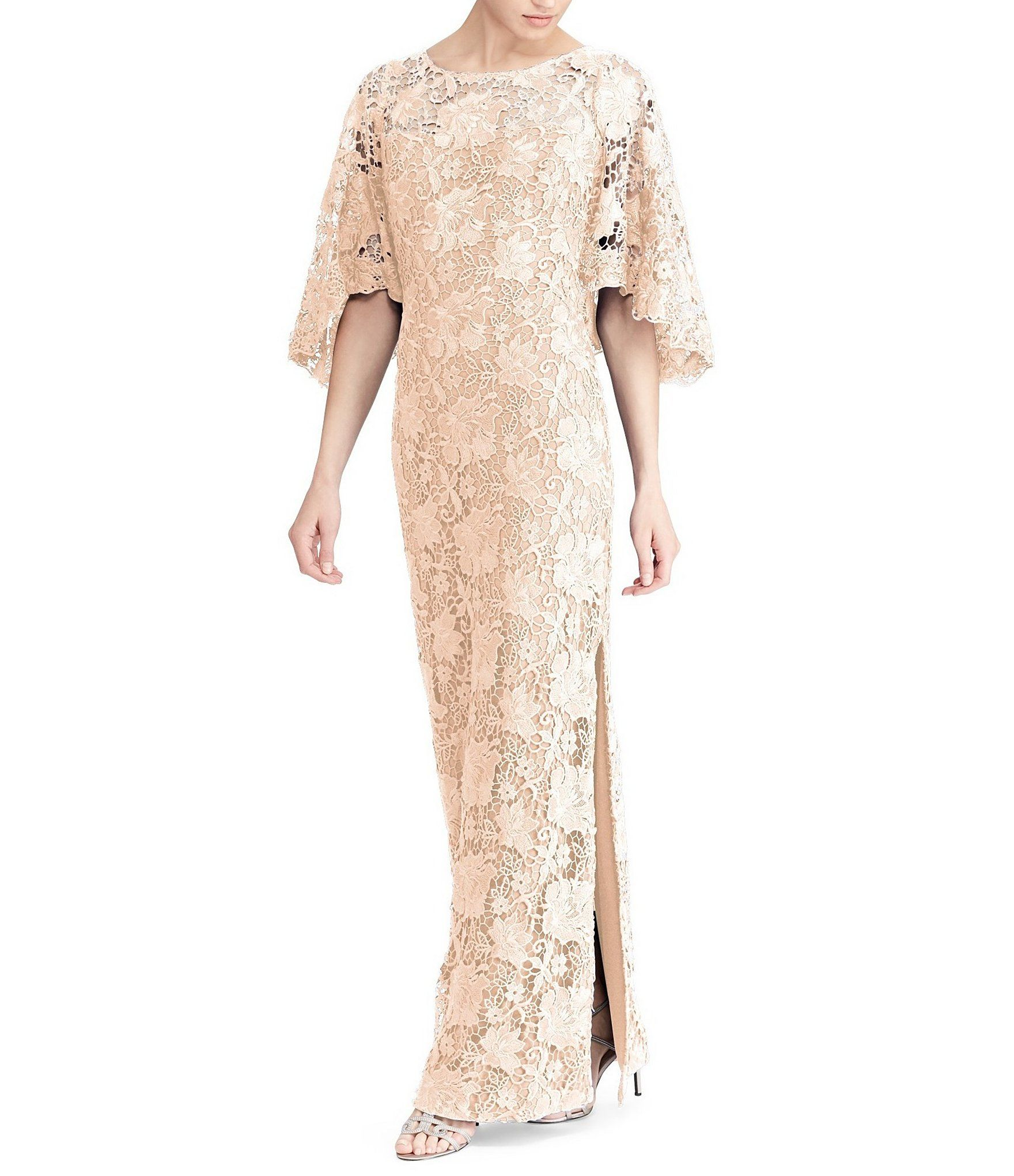 990cd1d374ad Lauren Ralph Lauren Blush Pink Metallic Lace Flutter Bell Sleeve Gown  #Dillards