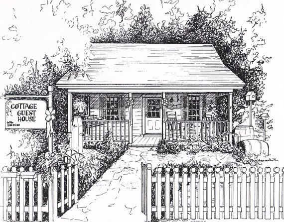 Custom Artwork Portrait Of Business Bed And Breakfast Commissioned Ink Architectural Drawing Commercial Building