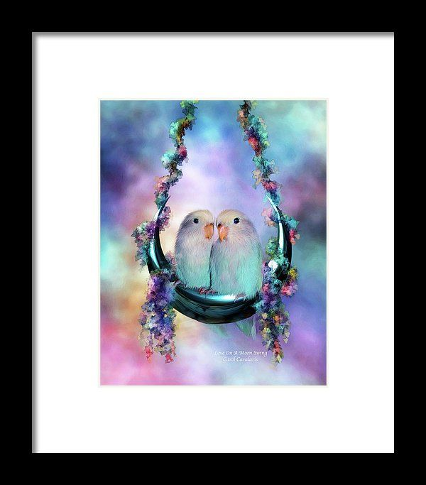 Lovebird Framed Print featuring the mixed media Love On A Moon Swing by Carol Cavalaris