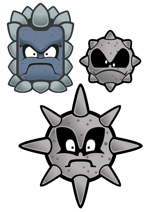 Thwomp, Spiky Tromp and Spiny Tromp from Super Paper Mario.