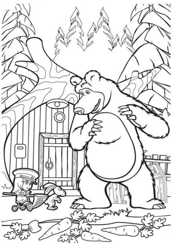 coloring page Mascha and bear | Bear coloring pages, Cool ...