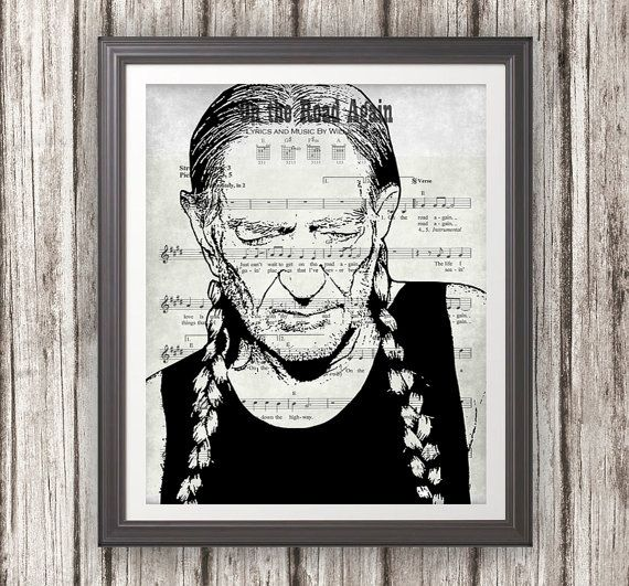 Willie Nelson On The Road Again Lyric Sheet Wall Art Photo Etsy Art Photo Prints Willie Nelson Photo Wall Art