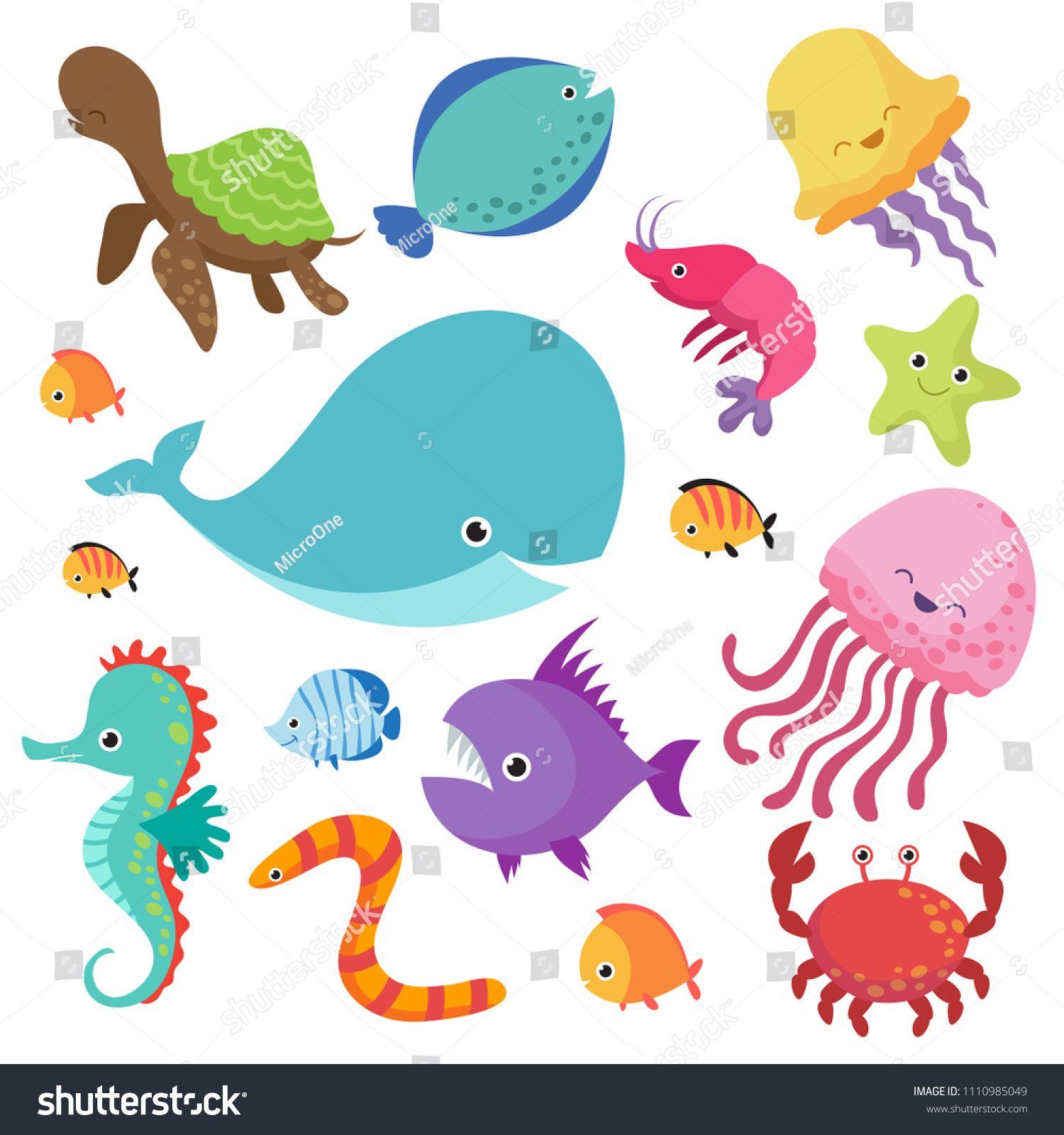 Cartoon Childrens Aquarium And Wild Sea Fishes Set Fish And Sea Animal Nature Marine Underwater Wildlife Illustration In 2020 Underwater Animals Fish Vector Sea Fish