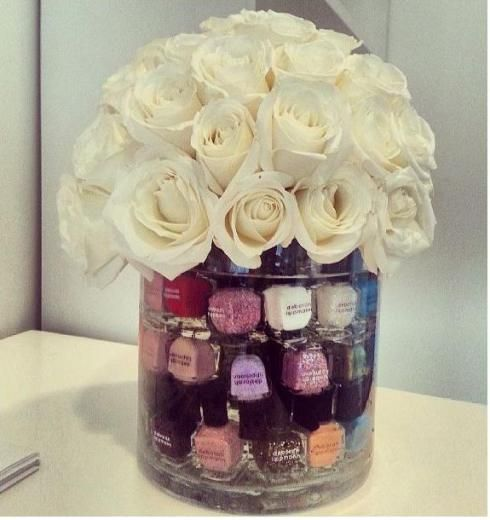Cute way to display and store mail polish. Cute for the girls side of the sink!