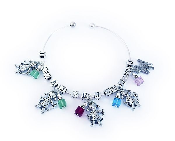Bangle Bracelet with 5 kid charms and 5 initials and 5 birthstone crystal charms