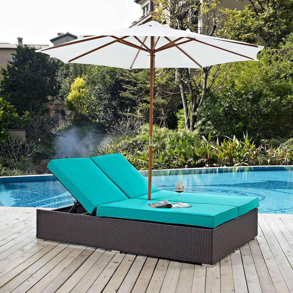 Modway Convene Outdoor Double Chaise Lounge With Umbrella In An Espresso Turquoise Finish Eei 2180 Exp Trq Set Gather Stag Outdoor Chaise Patio Chaise Patio