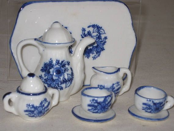 vintage Miniature Blue and White Porcelain Tea Set  service