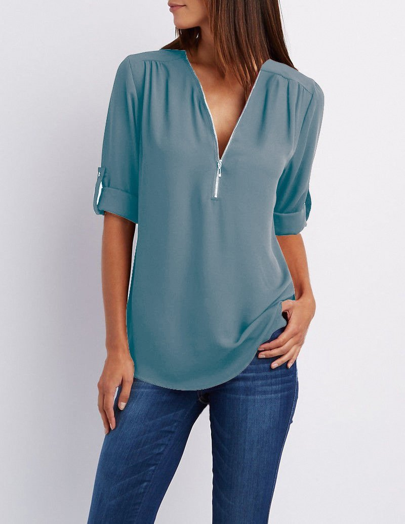 700f98a279f V-neck Candy Color Front Zipper Long Sleeves Loose Blouse | Blouses ...