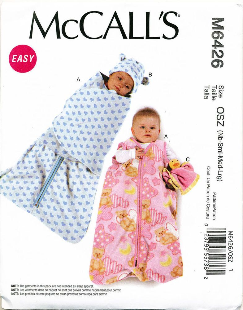 C2011 MCCALLS PATTERN 6426 BABY NB L SLEEPING BAG REMOVABLE SWADDLE WRAP HAT TOY
