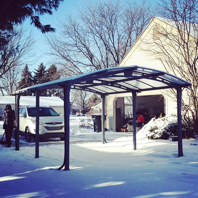 Vanguard 5000 Free Standing Car Port: Arcadia Carport In The Snow ️ Ready To Go #palram