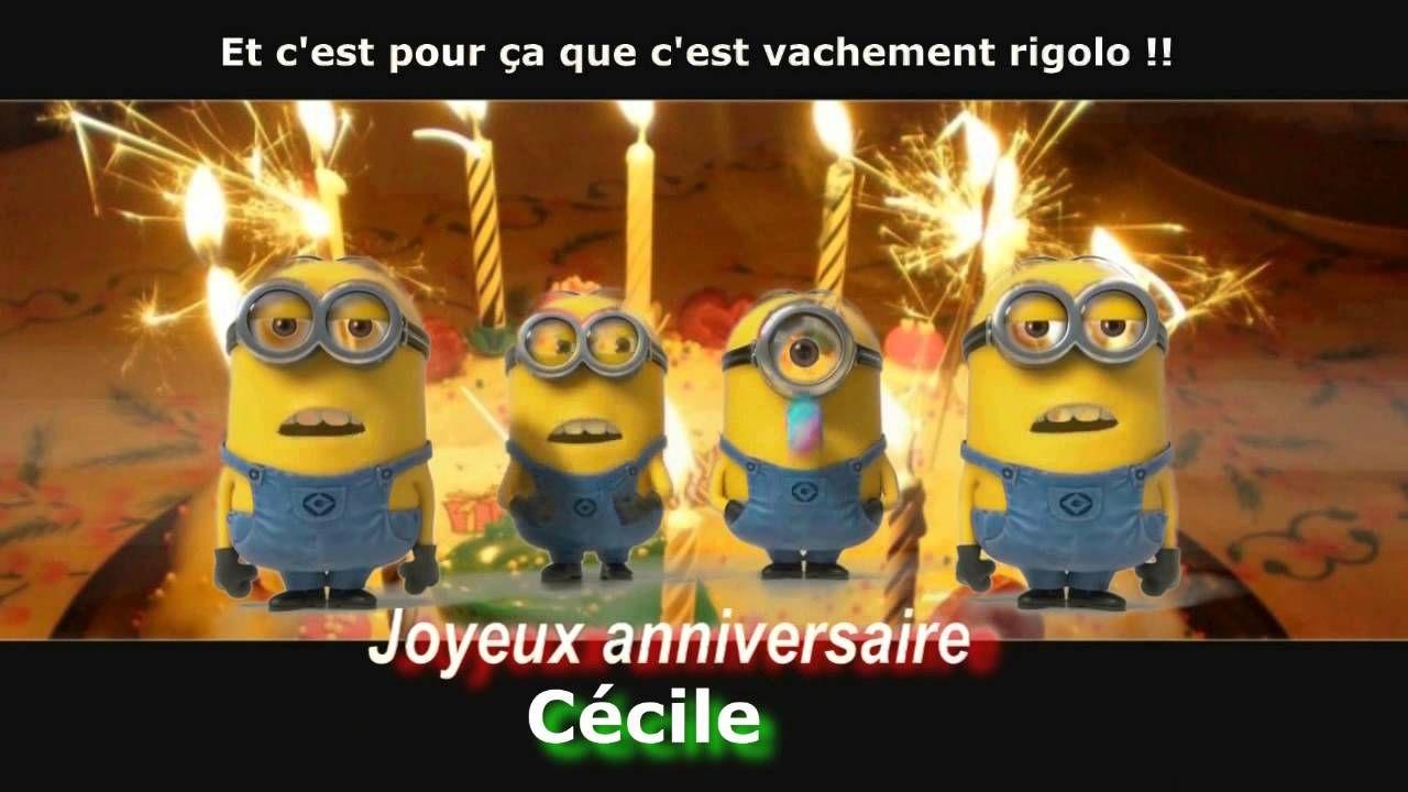 Minions Joyeux Anniversaire Personnalise Cecile Fete