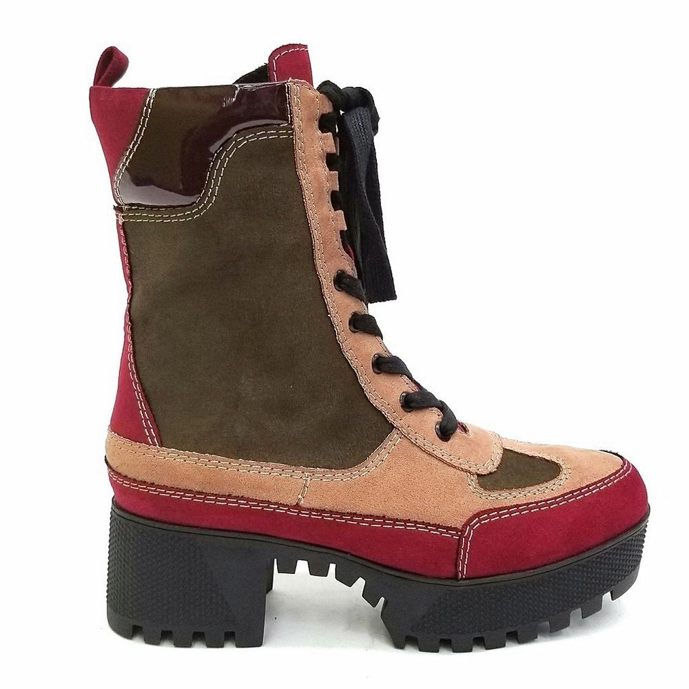 9ee397044e3 New Women Combat Platform Lace Up Lug Sole Chunky Heel Ankle Boots ...