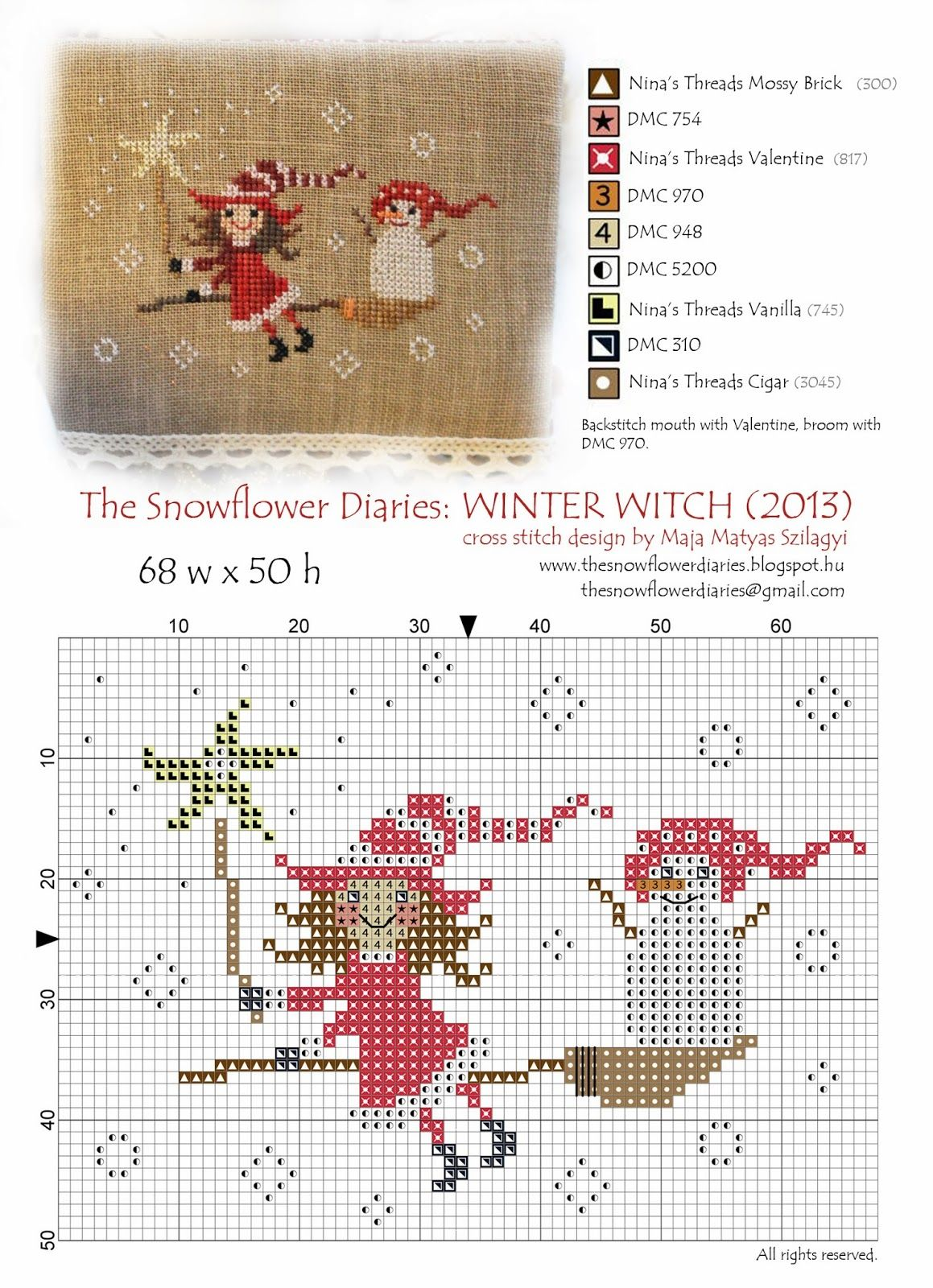 *Updated on Dec 10/2013 with the free chart   Good Evening,   I have finished the Winter Witch of my seasonal witch series, I really enjoyed...