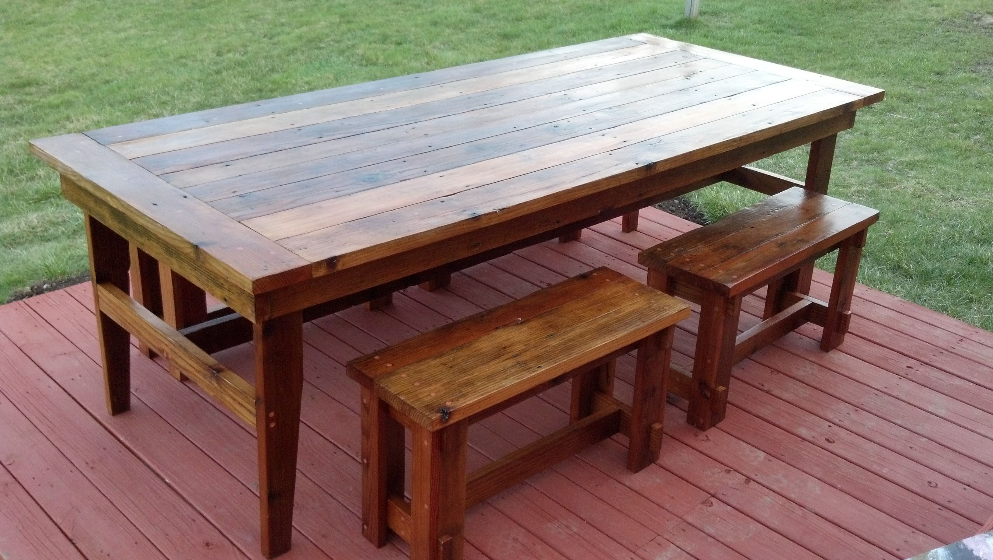 Rustic Farm Table Benches plans Around the House Useful