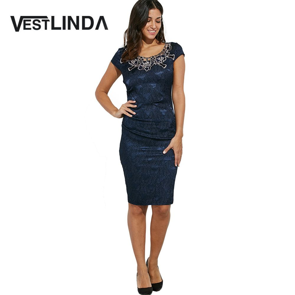 Vestlinda elegant vintage office work dress women bodycon dress