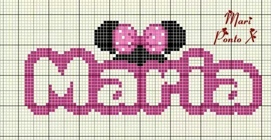 Maria - orelha Minnie | ponto cruz | Pinterest