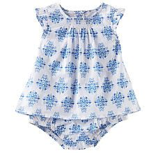 baby B'gosh Girls White/Blue Brocade Print Flutter Sleeve Tunic Top and Tiered Ruffle Bottom Diaper Cover Set