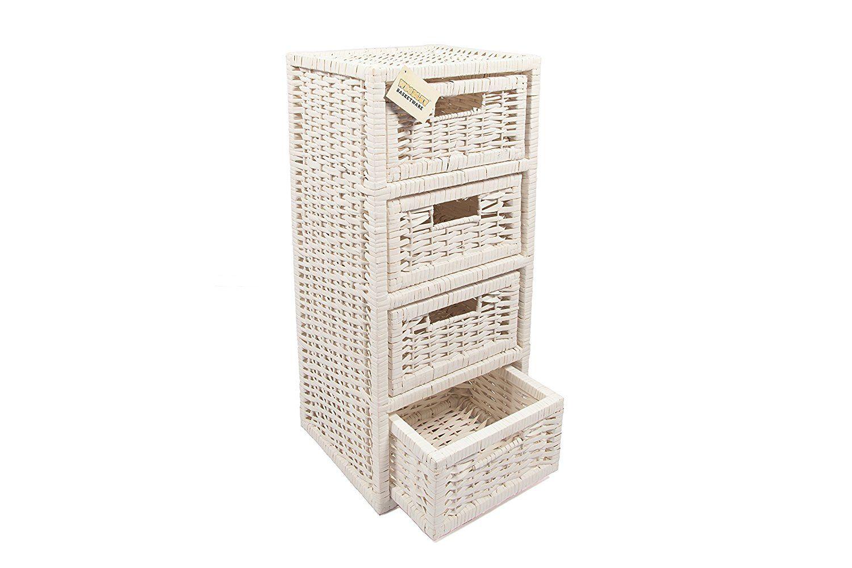 Woodluv 4 Drawer Wicker Storage Tower Unit For Bathroom Bedroom
