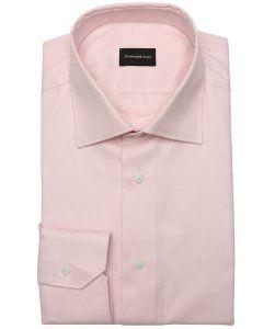 Ermenegildo Zegnalight pink cotton twill button front dress shirt