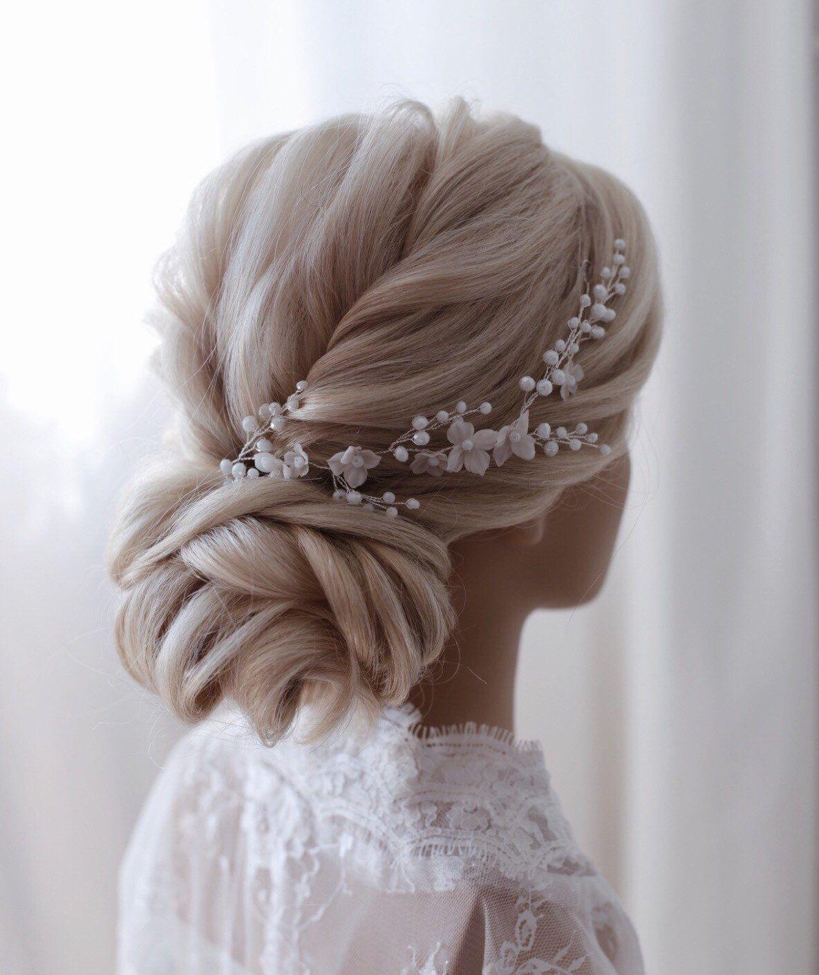 braut haarschmuck mit floralen motiv,floral bridal