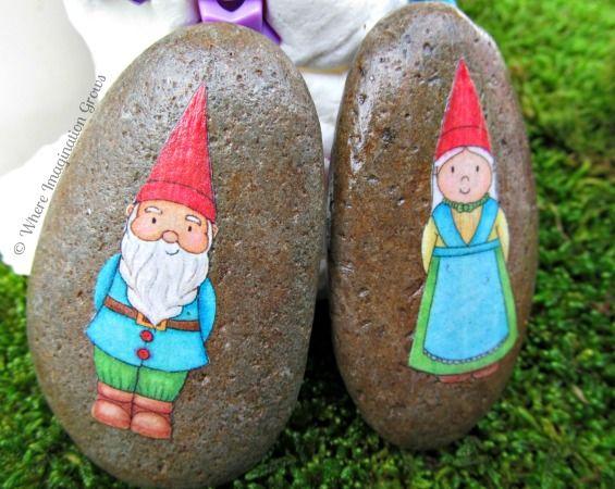 Small World Play Gnome Fairy Garden Rock Painting Art